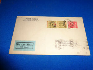 LEEWARD ISLANDS 1928 FIRST FLIGHT COVER, MULTI STAMP TO US
