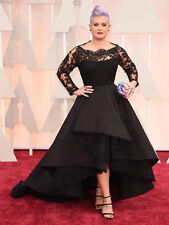 High-low Plus Size Black Lace Long Sleeve Evening Dress Prom Gown Wedding Party+