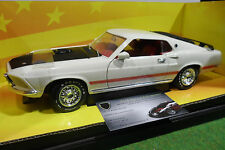 FORD MUSTANG MACH I 1969 blanc 1/18 AMERICAN MUSCLE ERTL 32269 voiture miniature