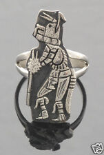 R.B. Kagenvema Native American Hopi Sterling Wolf Dancer Ring Size 7 1/2