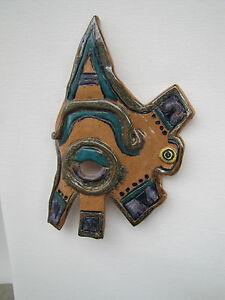 Aztec Mask wall hanging decor stoneware handmade clay glazed porcelain NC artist