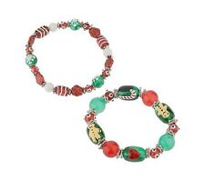 Hand Painted Glass Bead Christmas Bracelets Set of Two