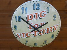 BRAND NEW WWII DIG FOR VICTORY METAL WALL CLOCK 12 HOUR DISPLAY