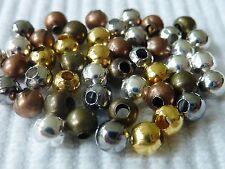 100 Metall Perle Spacer Zwischenperle rund Kugel Mix Mischung 4 mm 2554