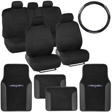 14 Pc Car Seat Covers Set Black & Black w/ PU Leather Trim Carpet Floor Mats