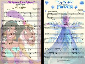 Alladin Frozen Disney Sheet Music Art (2) Lot 11 x 17 High Quality Posters