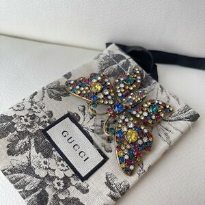NEW  Sold Out Gucci Crystal studded butterfly brooch Multicolor 100% Authentic
