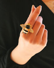 Fashion Lovely Rhinestone Cute Bee Design Gold Ring For Young Adjustable