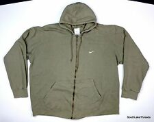 Vintage Nike Full Zip Hoodie Swoosh Logo Sweatshirt Green Sz Men's 2XL