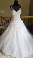 BRAND NEW! $2520 Pronovias Prala Ivory Tulle Lace Ballgown Wedding Dress Size 12