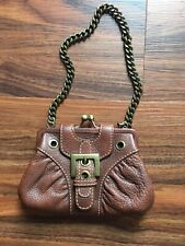 """NEW Isabella Fiore Small 8"""" Brown Leather Wallet Clutch Purse Bag,"""
