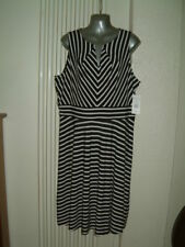 Ladies Size 18 Black and White Stripe Dress With Tags