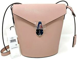 Calvin Klein Lock Leather Pink Bucket Bag MSRP $198