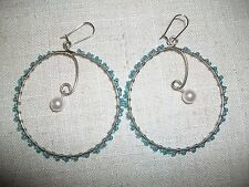 "Blue iridescent beads with Pearl dangle bead 2.5"" circle pierced earrings #200"