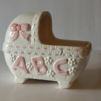 Vintage White Ceramic Baby Girl ABC Nursery Bassinet Planter with Pink Accents