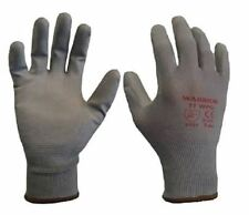 12 Pairs Warrior Grey PU Coated Grip Work Gloves Builders Size 10 XL Mens