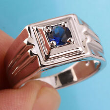 Men Real 925 Sterling Silver Ring Size 12 with Solitaire Sapphire Blue Stone