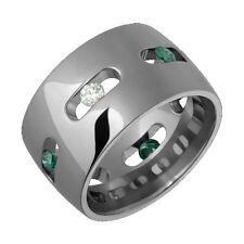 Womens Men's Titanium Ring Engagement Wedding Band W/ Green Diamond Comfort Fit