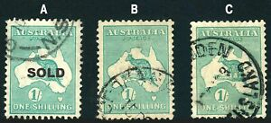 Kangaroo 1/- Blue Green SMWmk - 2 to pick from. Both centred, A1 perfs FREE POST