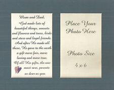 Family MOM DAD God Made RARE Parents Friend PHOTO MAT Holder verses poems plaque