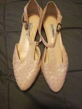 Vintage Footworks Leather Sandals Pink Woven Made Brazil Sz 7.5