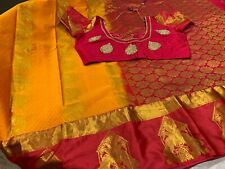 New Pattu/ Soft Silk Saree with work Stitched blouse 40/43