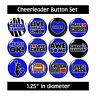 Blue CHEERLEADER BUTTONS pins cheerleading sports motivation competition