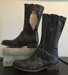 NEW Bed Stu Hustle S Black/Brown Lux Dual Zip & Buckle Leather Boots 7.5 NWOB