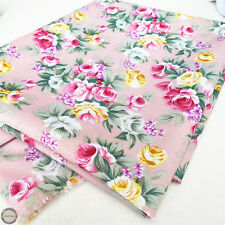 Vintage Shabby Rose Floral Prints Fabric Cotton Like Quilting Crafts Sewing