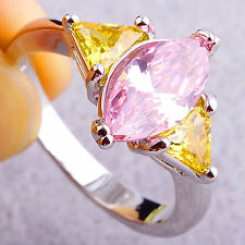 Marquise & Triangle Cut Pink Topaz Citrine Great Gemstones Silver Ring US Size 7