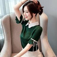Summer Womens Short Sleeve Collar Casual Work Office Chiffon T Shirt Tops Blouse