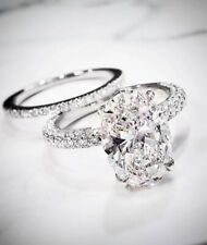 2.70 Ct. Oval Cut  Micro Pave Diamond Engagement Ring w/ Wedding Band F SI1 GIA