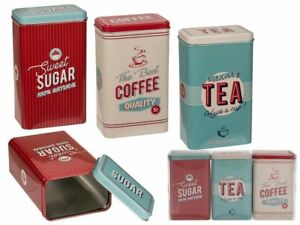 Retro Vintage Rectangular Tea Coffee Sugar Kitchen Storage Canister Pot Tins Jar