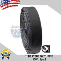 "1"" 100 FT. 100' Feet BLACK 25mm Polyolefin 2:1 Heat Shrink Tubing Tube Cable US"