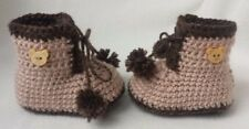 Handmade crochet baby teddy boots/prams with pompom for 0-3 months old baby