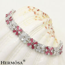 """Genuine AAA White Topaz Cherry Ruby 925 Sterling Silver Cocktail Bracelets 7"""""""