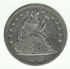 1847 Seated Liberty Very Fine VF Silver US Dollar $1