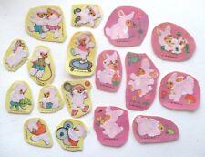 Flocked Fuzzy Stickers Lot of 17 Teddy Bear Bunny Rabbit Paper Art Co 1983 Vtg