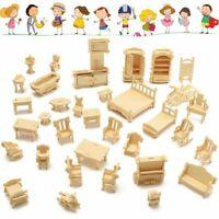 34PCS 3D DIY Wooden Miniature Dollhouse Furniture Model Children Kids Play Toys