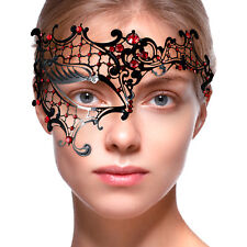 BLACK Lace Metal MASK Masquerade Venetian Half-face RED Diamante PROM BALL MASK