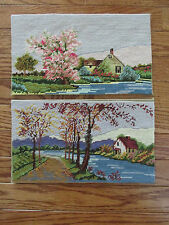 """Completed Set of 2 Spring & Fall Lake Country Scenes Cross Stitch 12""""x 7"""""""