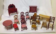 Vintage LOT WOOD DOLLHOUSE FURNITURE 16pc Woven Rocker Chairs Table Desk
