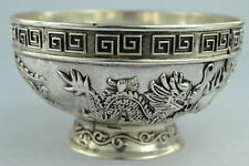 Collection  Rare Old Handwork Carved dragon Tibet - Silver bowl Chinese