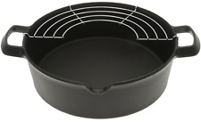 Iwachu 410-185 Cast Iron Tempura and Deep-Fry Pan with Wire Rack, Large, Black