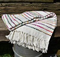 Rainbow White and Bright Multi Coloured Cotton Handloom Blanket Throw  Made in I