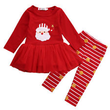 Christmas Toddler Kid Baby Girl Xmas Santa Party Tutu Dress Outfit Clothes 0-7T