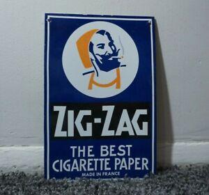 VINTAGE ZIG-ZAG PORCELAIN SIGN METAL SERVICE STATION PLATE OIL GAS RARE TOBACCO