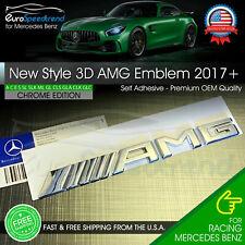 AMG Chrome Emblem Trunk OEM 3D Rear Lid Badge Mercedes Benz A C E G S SLK 2017+