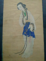 Rare grande peinture courtisane Chine signée tableau femme chinoise dame cour