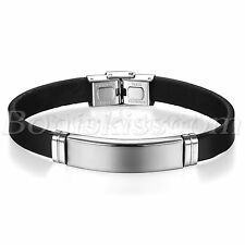 Men's Classical Leather Stainless Steel Bracelet Bangle Cuff with Free Engraving